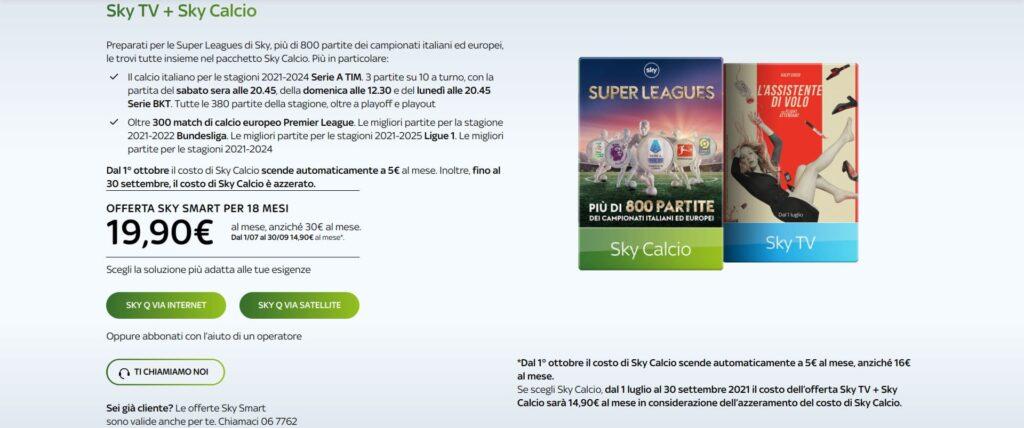 Sky Calcio, offerta 2021-2022