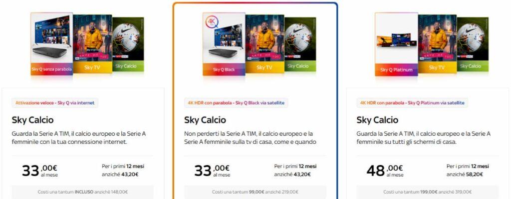 Pacchetto Sky Calcio offerte stagione 2020-2021