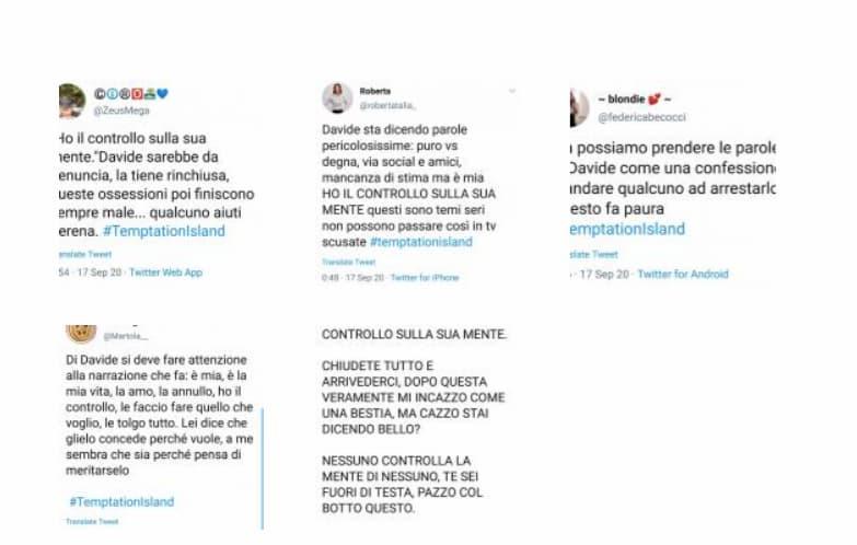 Le reazioni su Twitter degli utenti dopo le parole choc di Davide sulla fidanzata Serena a Temptation Island 2020