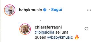 Chiara Ferragni solidale con Baby K