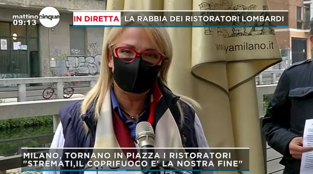 """Mattino 5, la protesta dei ristoratori lombardi: """"Il coprifuoco è la nostra fine"""""""