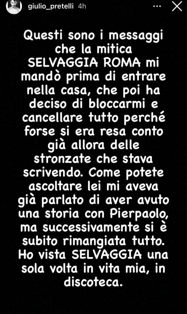Messaggi Giulio Pretelli Selvaggia Roma Instagram
