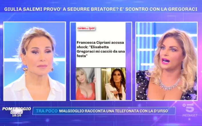 """Pomeriggio 5, Francesca Cipriani contro Gregoraci: """"mi cacciò da una festa"""""""