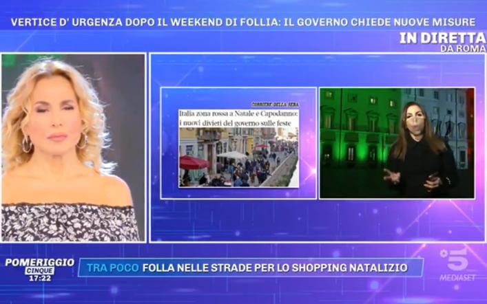 Pomeriggio 5, nuovo lockdown in Italia per Natale? Le ultime news in diretta
