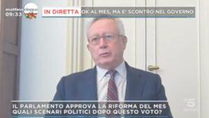 Mattino 5, il commento di Giulio Tremonti alla riforma del MES