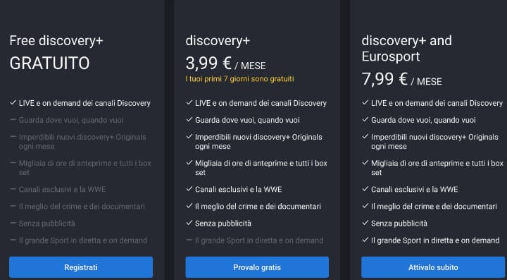 I tre piani del servizio Discovery Plus